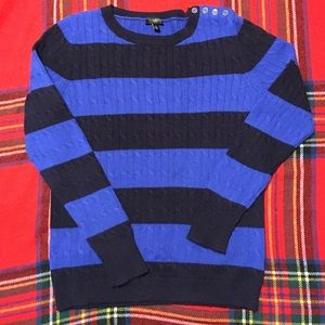 Talbots cable knit crew sweater navy/blue M petite